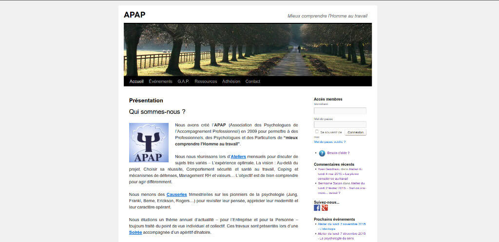 vue site web APAP 2015