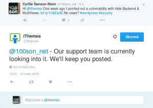 Tweet faille iTheme Security Multiviews