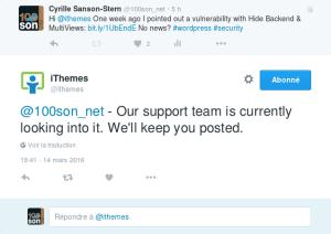 Tweet faille iTheme Security Multiviews
