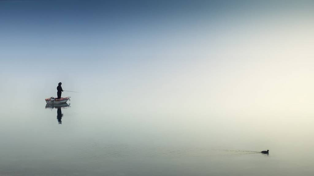 Pêcheur et canard sur un lac