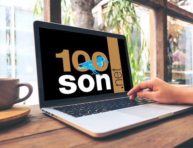 Portable affichant le logo 100son.net.