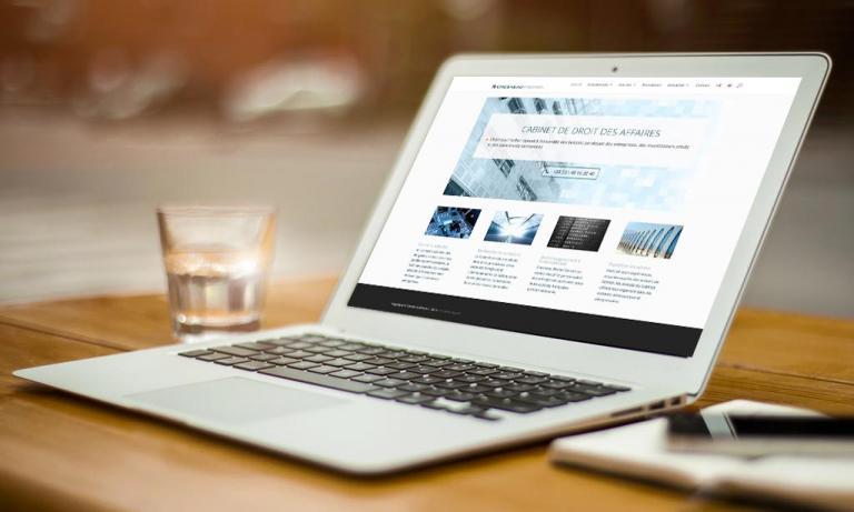 Portable affichant la page d'accueil de Chesneau-Fischel.com.