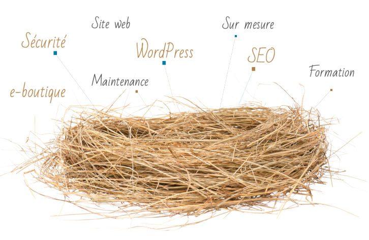 Nid d'oiseau et mots autour : e-boutique, sécurité, maintenance, site web, WordPress, sur mesure, SEO, formation.