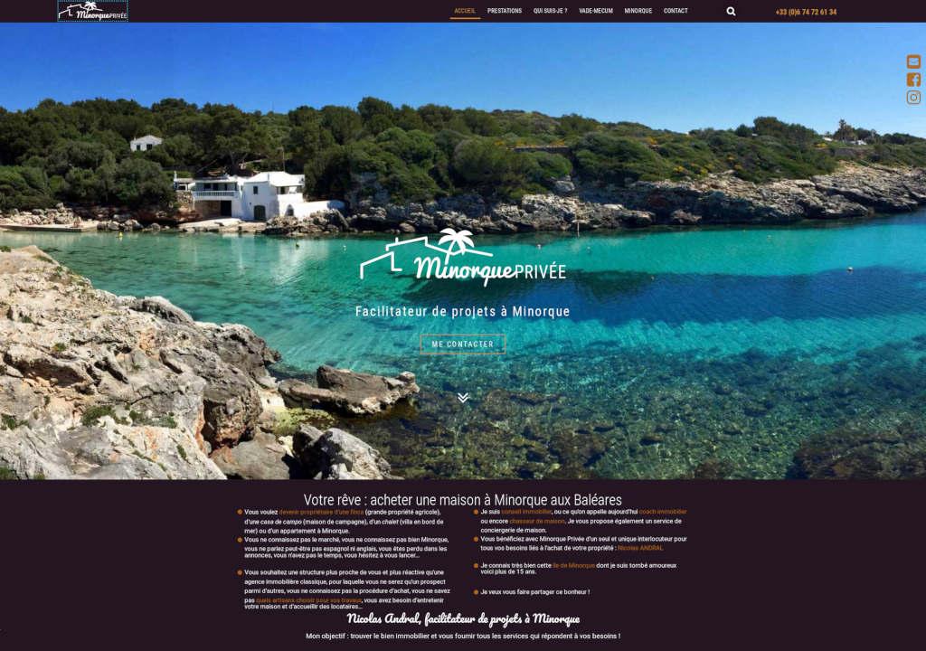 Capture page d'accueil du site Minorque-privee.com.