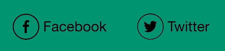 Icônes Facebook et Twitter avec des étiquettes.