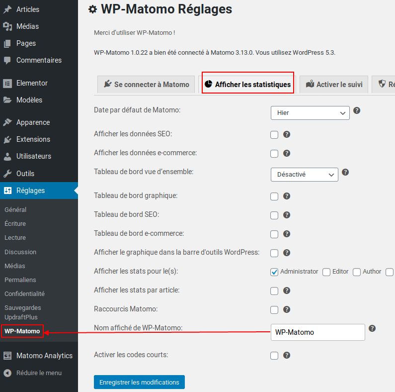 Wp Matomo Changer Nom