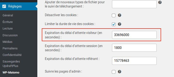 WP-Matomo limiter la durée de vie des cookies à 13 mois.